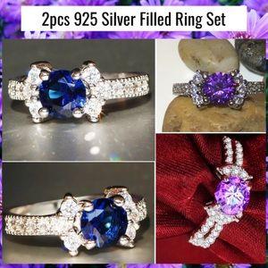 2x Blue Amethyst Zircon Gemstone Halo 925 Ring Set